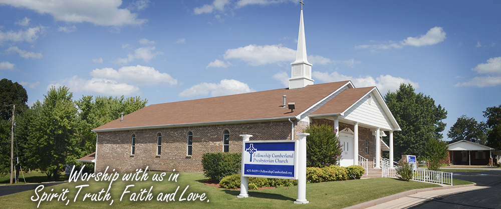 This is a picture of Fellowship Cumberland Presbyterian Church in Mountain Home Arkansas.